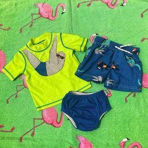 Carter's Sloth rash guard,trunks + swim diaper EUC